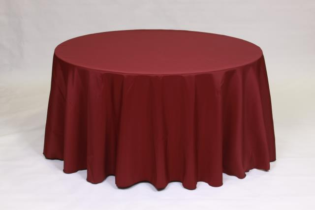 Where to find BURGUNDY, 120  ROUND TABLECLOTH in Falmouth